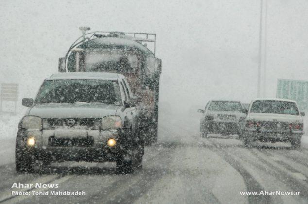 بارش برف پاییزی در جاده اهر – تبریز