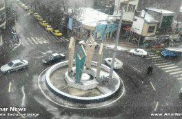 آغاز بارش برف در شهرستان اهر و شهر های همجوار