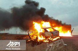 تصادف شدید نیسان و تندر۹۰ در جاده اهر – تبریز با ۶ کشته / همه سرنشینان در آتش سوختند + تصاویر