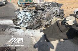 تصادف ۲ دستگاه کامیون با پراید ۱ کشته برجای گذاشت + تصاویر