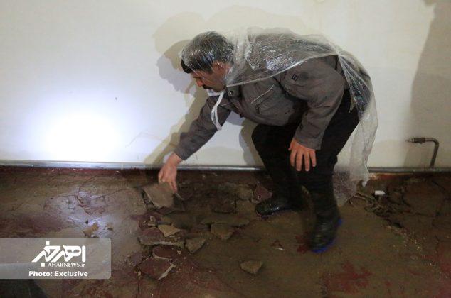 خسارت سیل و بارش باران و تگرگ بامداد امروز به منازل مسکونی در اهر