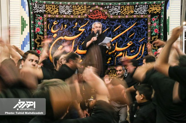 مراسم طشت گذاری و اعلان عزای حسینی با مداحی استاد حاج داود عزیزی در اهر
