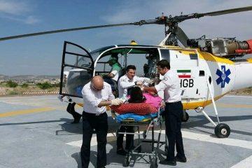 پرواز بالگرد اورژانس در ورزقان برای نجات جان نوجوان ۱۶ ساله