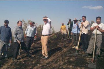 آتش به پنج هکتار از مراتع خداآفرین خسارت زد